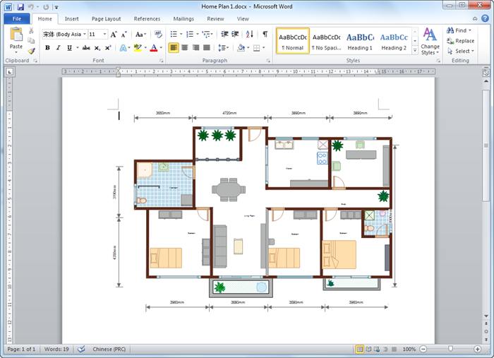 Create floor plan for word for Creation plan