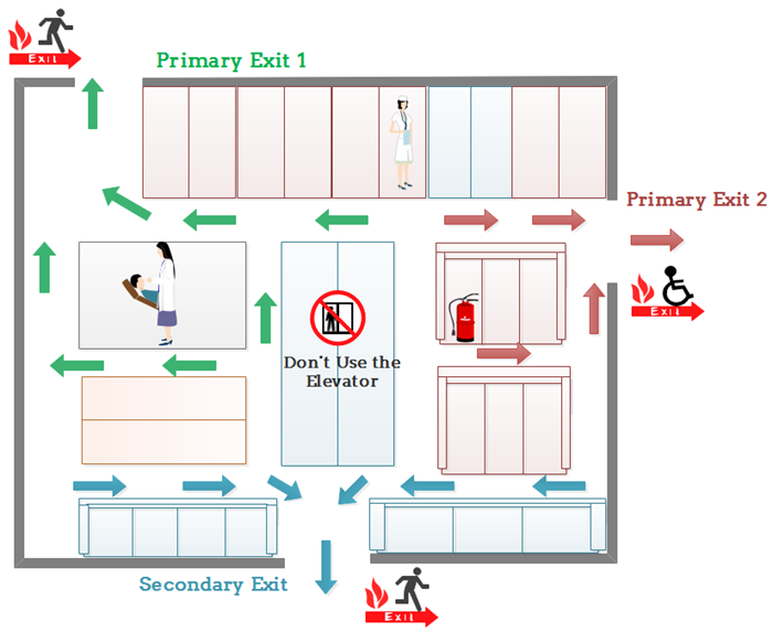 Evacuation floor plan for hospital emergency for Fire evacuation plan template for office