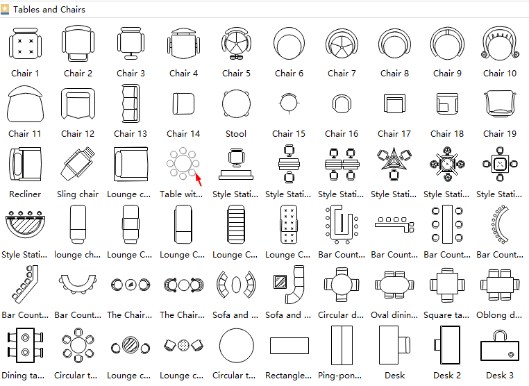 table plan symbols