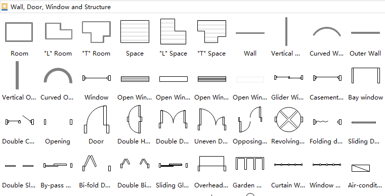 wall, door and window symbols