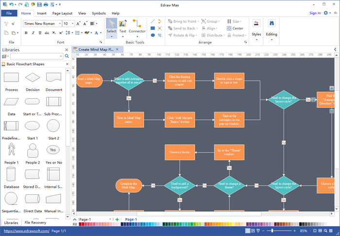 easy flowchart software interface