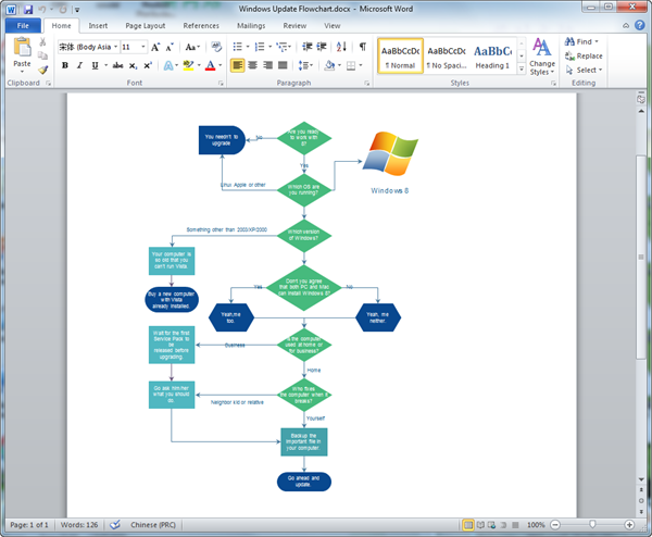 Create Flowchart for Word
