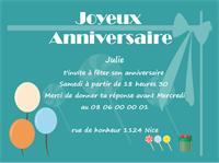 Modèle de carte d'invitation anniversaire personnalisable