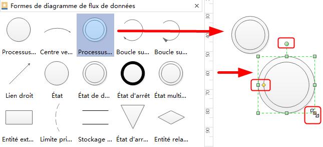 Ajouter des formes de diagramme de flux de données