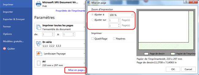 Imprimer le diagramme de flux de données sur une page de papier