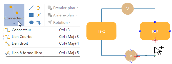 Connecter les formes de schéma d'arbre de défaillances