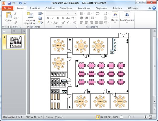 Modèle de plan de salle pour PowerPoint
