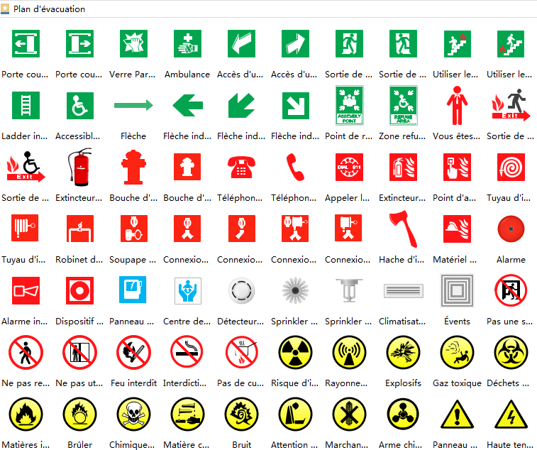 Symbols and Signs for Hospital Emergency Evacuation Floorplan