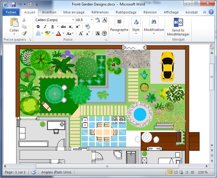 plan de jardin en Word