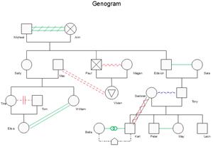 Modèle de génogramme de relation émotionnelle