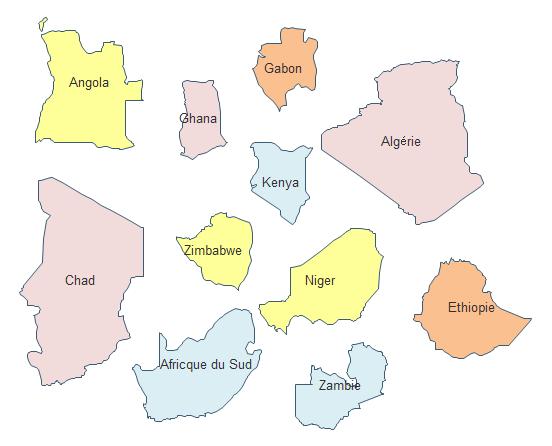 Carte géographique - Certains pays d'Afrique