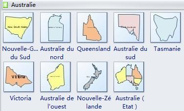 Formes de carte géographique - Australie