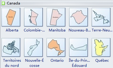 Formes de carte géographique - Canada
