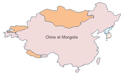 Carte géographique - Chine et Mongolie