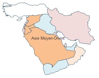 Carte géographique - Moyen-Orient