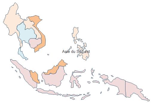 Carte géographique - Asie du Sud-Est