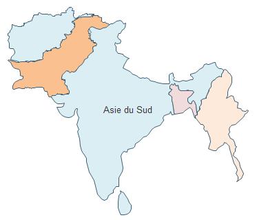Carte géographique - Asie du Sud