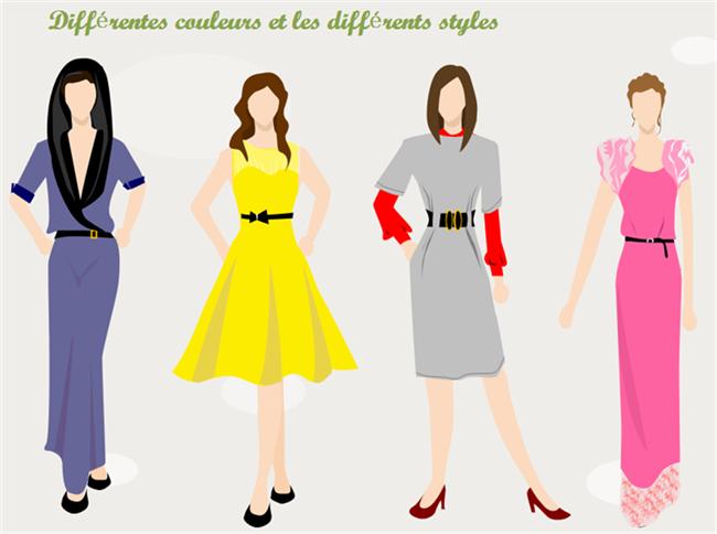 Les différentes couleurs pour les différents styles