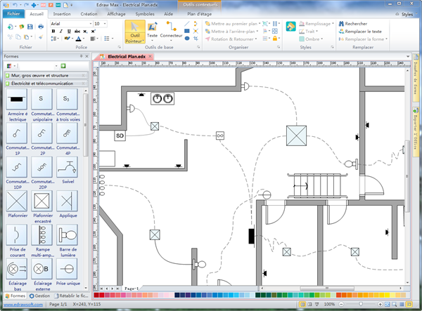 Electricite gratuite avec multiprise maison design Electrical floor plan software