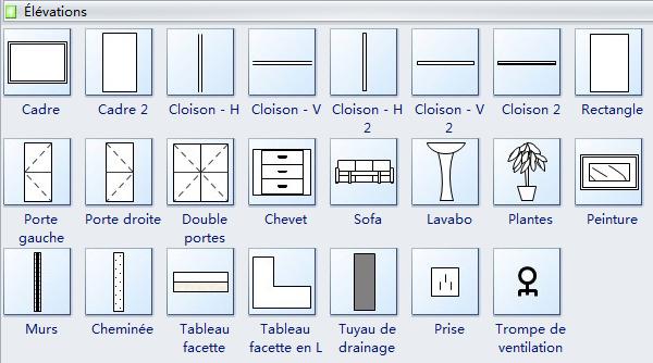 Symboles de diagramme d'élévation