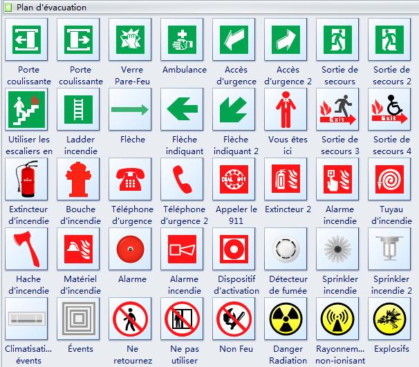 Symboles de plan d'évacuation d'incendie