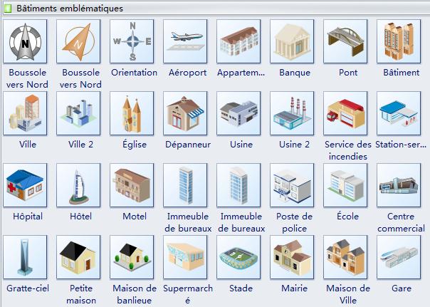 Symboles de bâtiments emblématiques