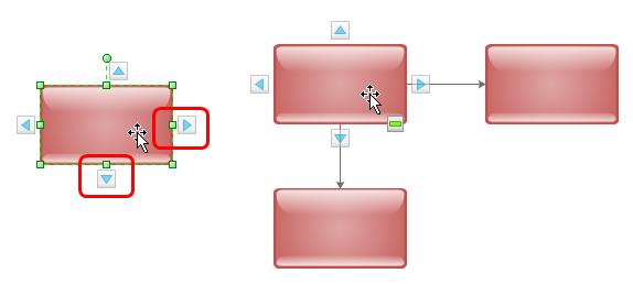 Bouton d'action de diagramme de flux en surbrillance