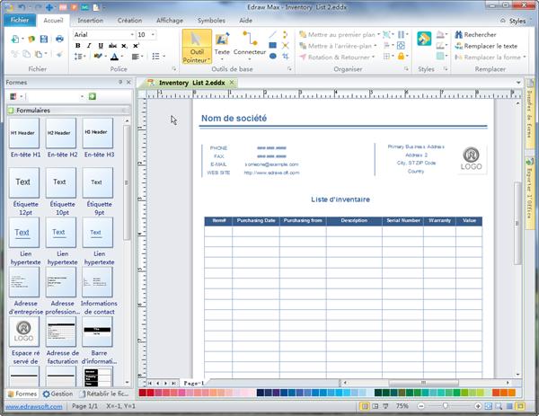 Logiciel de création de liste d'inventaire