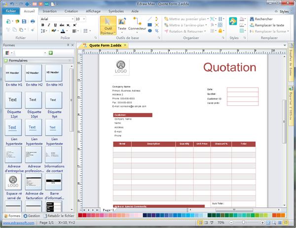 Logiciel de création de formulaire de quotation