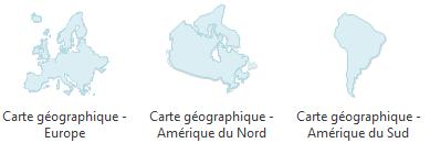 Carte géographique - Europe, Amérique
