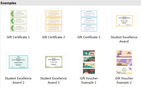 Exemples et modèles de certificat
