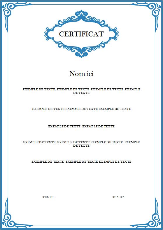Modèle de certificat 3