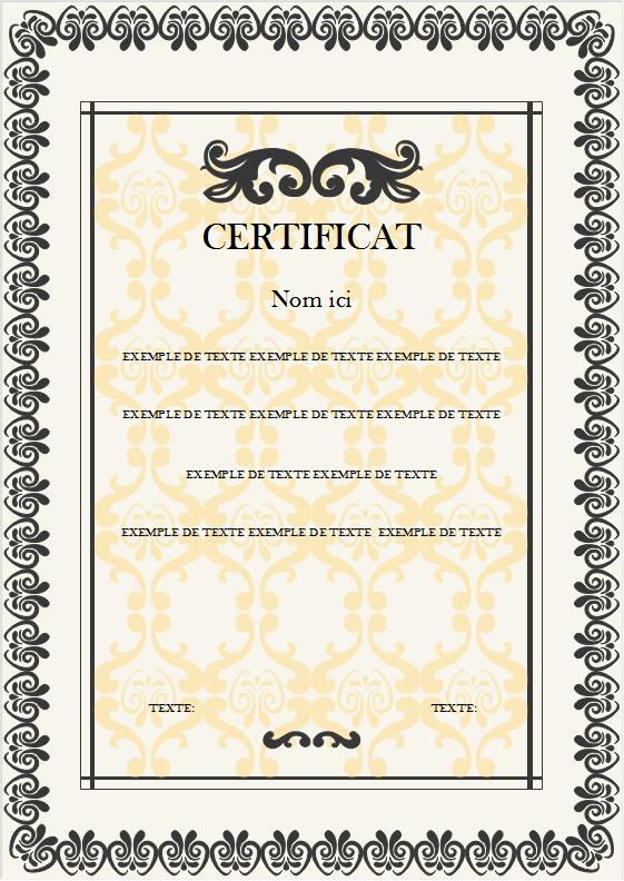 Modèle de certificat 4
