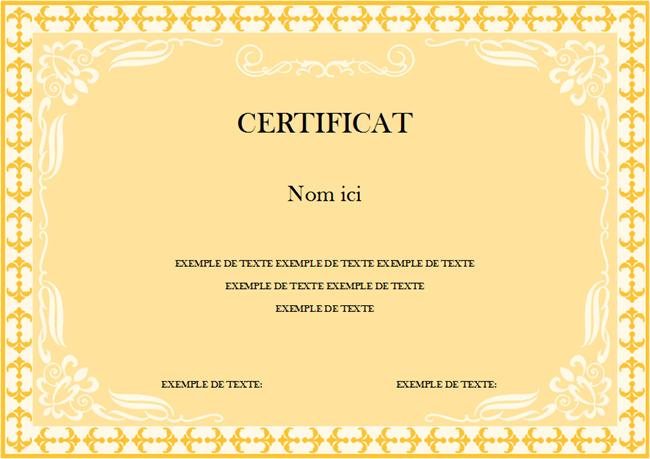 Modèle de certificat 1