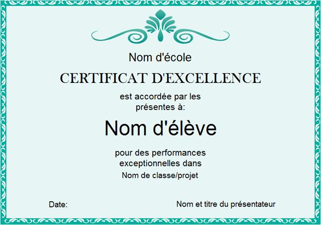 Modèle de certificat d'excellence 2