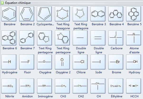 Symboles d'équation chimique
