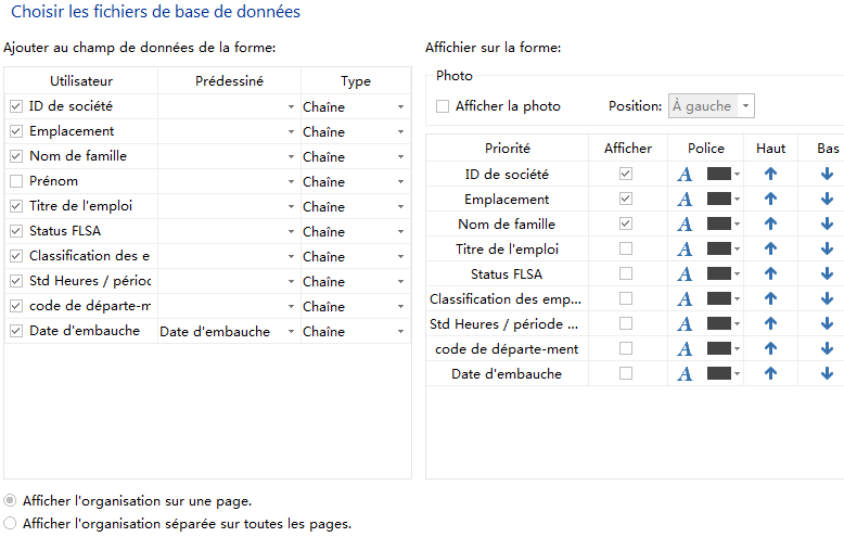 Options d'affichage d'organigramme