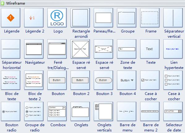 Symboles du logiciel Wireframe