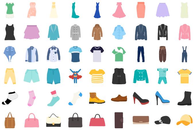 Éléments pour l'infographies de vêtements