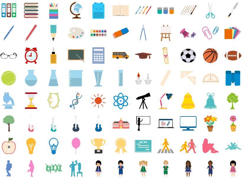 Éléments scolaires pour l'infographie d'enseignement