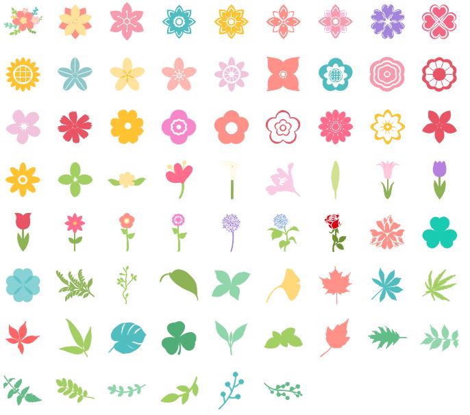Éléments de fleurs et de feuilles pour la création d'infographie