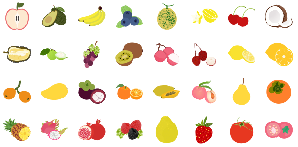 Eléments d'infographie de fruits