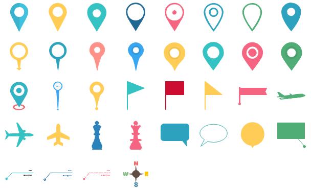 Éléments de pointeur d'emplacement de carte d'infographie