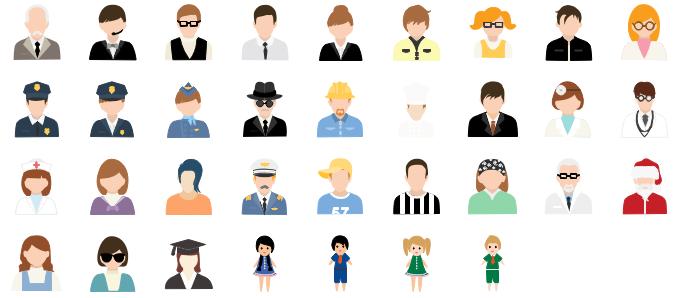 Éléments vectoriels des gens de différentes professions