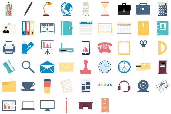 Éléments de bureau pré-dessinés d'infographie