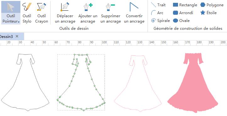 Outil Crayon pour le design d'infographies de vêtements