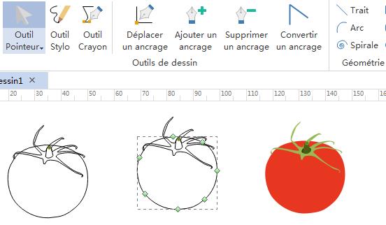 Outil Stylo pour les éléments d'infographie de fruits