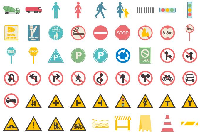 Belle 100+ panneaux de signalisation pour l'infographie VO-39