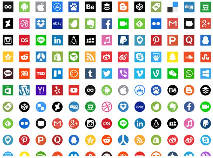 Icônes de médias sociaux pour le design d'infographie