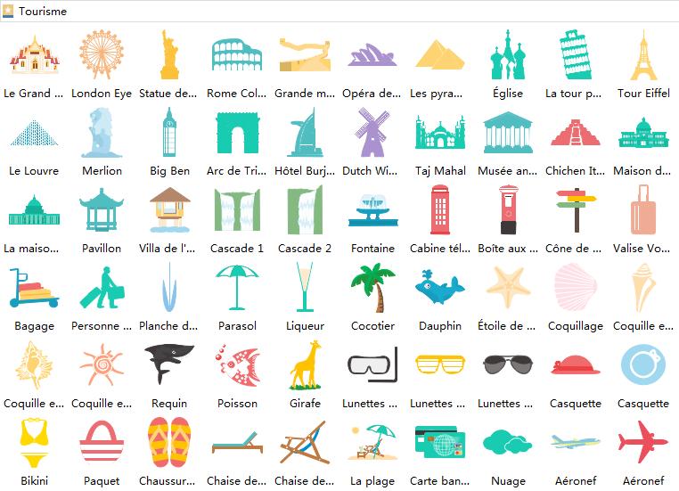 éléments d'infographie de tourisme